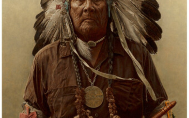 James Elliott Bama (b. 1926), Chester Medicine Crow with his Father's Peace Pipe and Medal, Crow Reservation, Montana (1973)