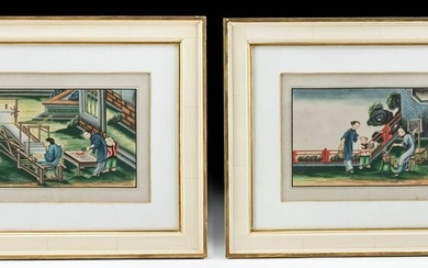Lot of 2 Antique Chinese Watercolors - Silk Making