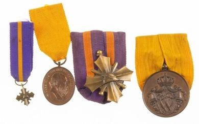 Lot of three medals and one miniature, consisting of 'Ijver...