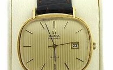 OMEGA 14K YELLOW GOLD SWISS C.1960 MILLER STRAP LEATHER