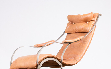 PETER COOPER. RW Winfield & Co. , rocking chair, leather, wood, metal, velvet, Great Britain, 19th century.