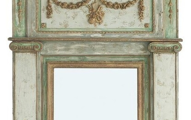 Painted and Parcel-Gilt Trumeau Mirror