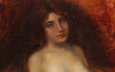 Painter unknown, circa 1900: A half-naked woman with red wavy hair. Unsigned. Oil on canvas....