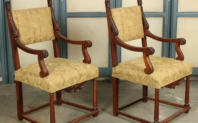 Pair Antique Carved Throne Chairs