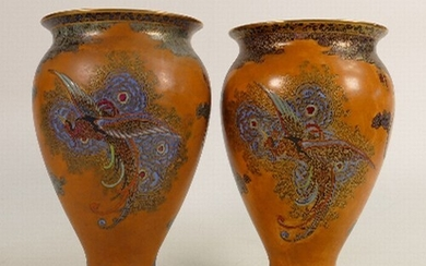 Pair of Carltonware vases in the Chinese bird and cloud desi...