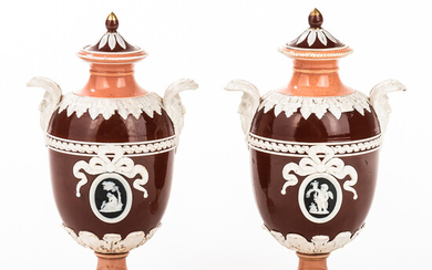 Pair of Wedgwood Victoria Ware Vases and Covers