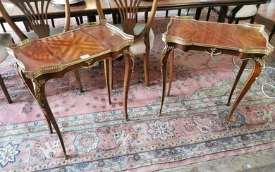 Pair of exceptional quality inlaid kingwood lamp tables with...