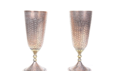 Pair of silvered copper chalices