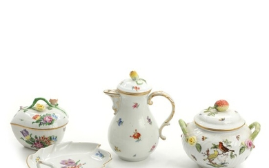 Porcelain coffee pot, leaf shaped dish, bonnière and small tureen. Meissen and Herend. 20th century....