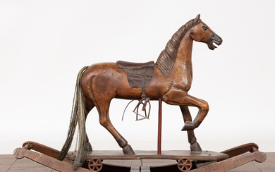 Rocking horse, wood, leather, metal, 1960s.
