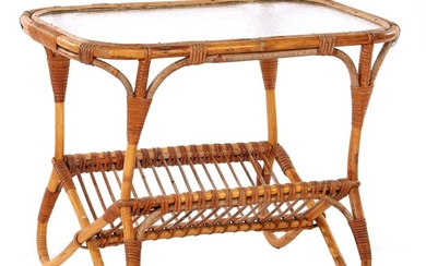 (-), Rattan coffee table with cloud glass and...