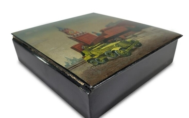 Russian lacquer painted box, signed and dated 1954