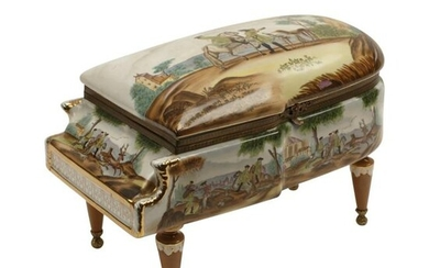 Sevres Style Porcelain Piano Form Box.