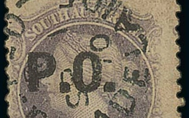 South Australia Departmental Stamps P.O. (Post Office): In black on perf 11½-12½ 4d. dull lilac...