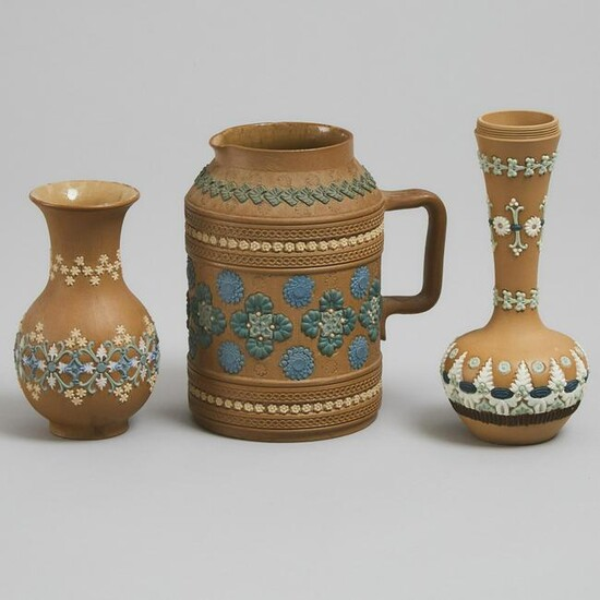 Two Doulton Lambeth Silicon Vases and a Jug, c.1880