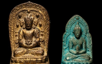 Two Figures of Seated Buddha