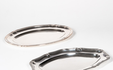 Two French Sterling Silver Oval Serving Trays