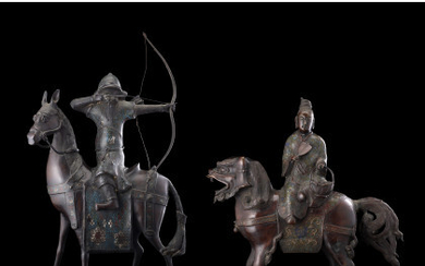Two cloisonnè enamel bronze sculptures, one depicting an archer on horseback, the other a God on a mythological beast. (defects)…Read more