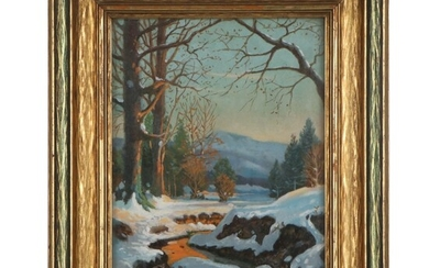 Winter Landscape Oil Painting, Late 20th Century