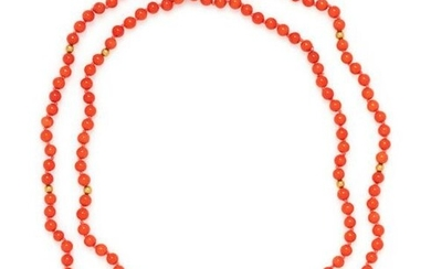 YELLOW GOLD AND CORAL BEAD NECKLACE