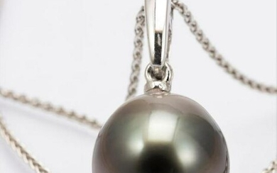 11.5mm Peacock Tahitian Pearl - 14 kt. White gold
