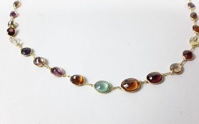 14ct Gold multi stone necklace (585)