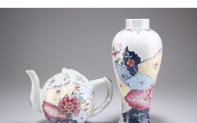 """A CHINESE TOBACCO LEAF PATTERN PORCELAIN VASE AND """"TEAPOT"""", ..."""