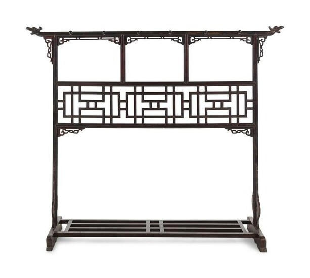 A Chinese Brown Lacquered Softwood Cloth Rack