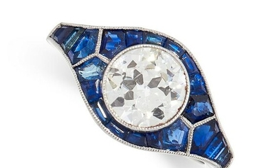 A DIAMOND AND SAPPHIRE DRESS RING in platinum, set to