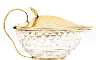 A George III silver gilt mounted cut glass sauce boat, the d...