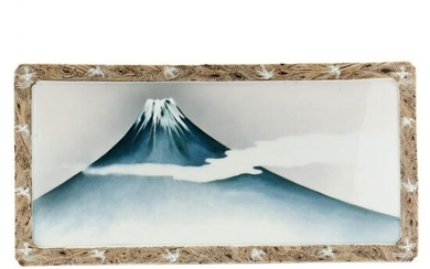A Japanese Porcelain Plaque with Mount Fuji