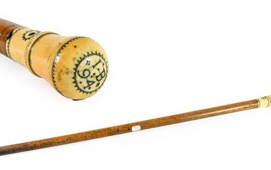 A Late 17th Century Gentleman's Malacca Walking Cane, the ivory...