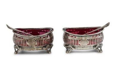 A Pair of American Silver and Glass-Lined Salt Cellars