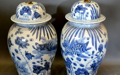 A Pair of Chinese Large Covered Vases decorated in underglaz...