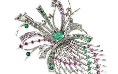A VINTAGE RUBY, EMERALD AND DIAMOND BROOCH, 1960S