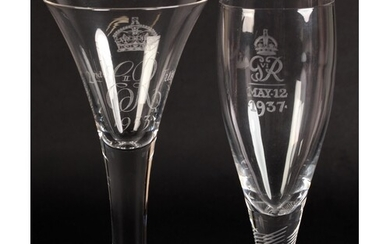 A WHITEFRIARS ER II CORONATION WINE GLASS, limited edition n...