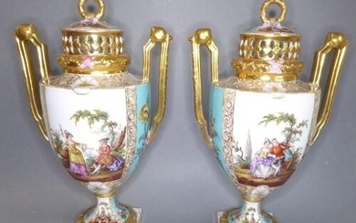 A good pair of late 19th century Dresden-style two-handled p...