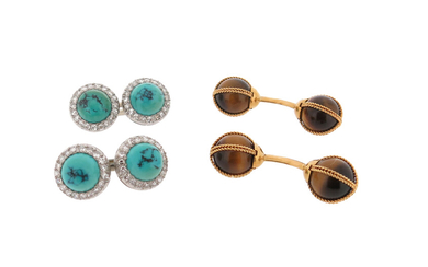 A pair of turquoise and diamond-mounted platinum dress cufflinks