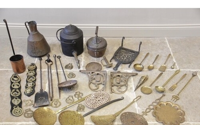 A selection of 19th century and later metal wares, to includ...