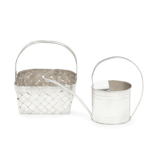 A silver novelty watering can and basket