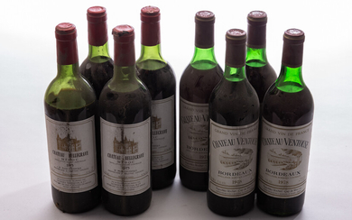Eight bottles of red wine / wine, Château Ventouse and Bellegrave Medoc, Gironde and Lesparre, France, 1975 and 1978 (8)