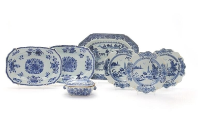 Collection of Chinese blue and white porcelain comprising small tureen, deep dish to dishes and...
