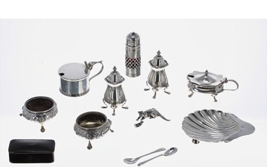 Collection of assorted silver condiments etc. including salt...