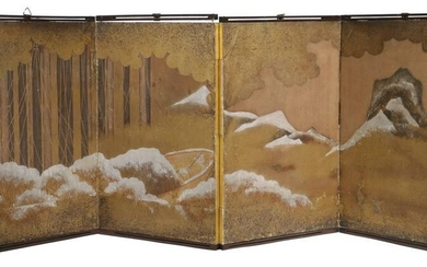 EARLY JAPANESE FOUR -FOLD TABLE SCREEN