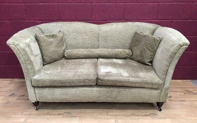 Edwardian sofa with green upholstery and similar armchair (2)