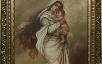 """French School, """"Madonna and Child,"""" early 20th c., oil"""