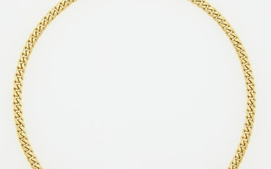 Gold and Diamond Curb Link Necklace