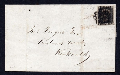 Great Britain 1840 - QV 1d Black Plate 5 Cover with Leeds Maltese Cross - Stanley Gibbons 2