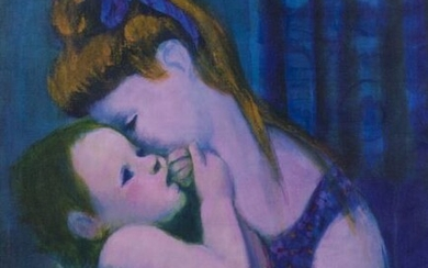 """Gustav Likan """"Mother and Child"""" oil on canvas."""