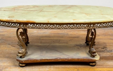 Hollywood Regency Style Gilt Metal And Onyx Table